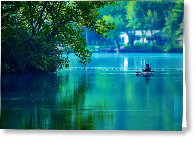 Blue Green Water Greeting Cards - Fishin Blues 2 Greeting Card by Brian Stevens
