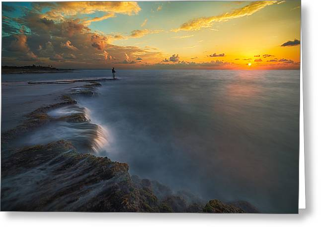 Canons Greeting Cards - Fishing A Sunset Greeting Card by Cristian Kirshbom