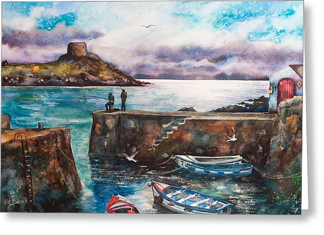 Kate Bedell Greeting Cards - Fishing at Coliemore Harbour Greeting Card by Kate Bedell