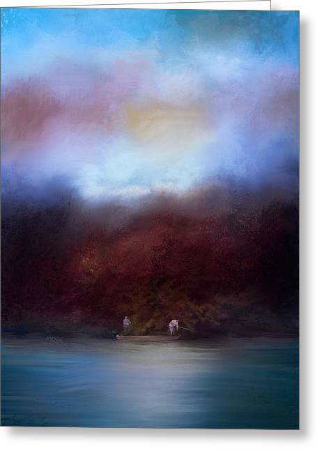 Boats In Water Greeting Cards - Fishing At Dawn Greeting Card by Jai Johnson