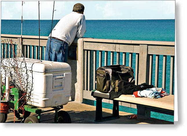 Susan Leggett Greeting Cards - Fishing at the Pier Greeting Card by Susan Leggett