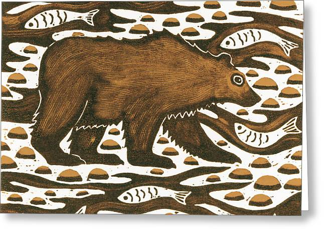 Paws Drawings Greeting Cards - Fishing Bear Greeting Card by Nat Morley