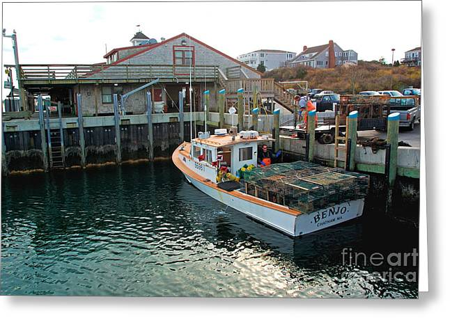 Lobster Fishermen Greeting Cards - Fishing boat at Chatham Fish Pier Greeting Card by Matt Suess