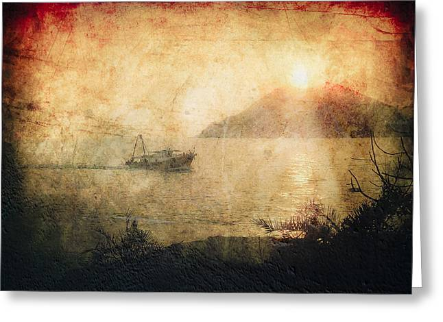 Sea View Greeting Cards - Fishing Boat at Sunset Greeting Card by Loriental Photography