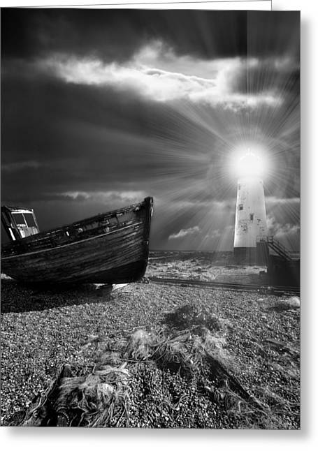 Moody Greeting Cards - Fishing Boat Graveyard 7 Greeting Card by Meirion Matthias