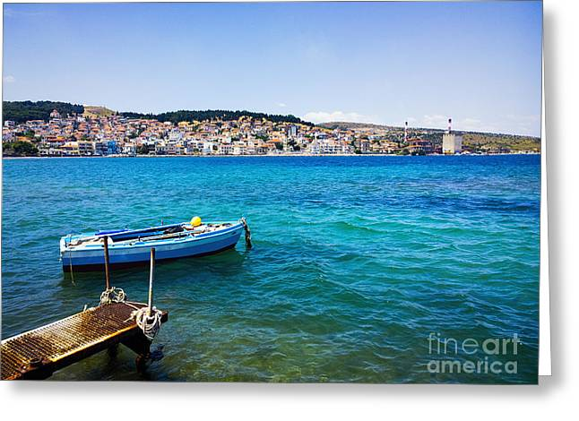 Paradise Pier Attraction Greeting Cards - Fishing Boat in Greece #2  Greeting Card by A Cappellari