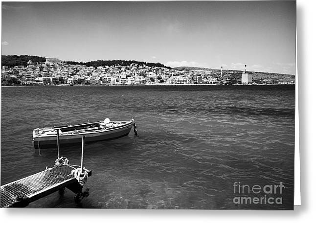Paradise Pier Attraction Greeting Cards - Fishing Boat in Greece Greeting Card by A Cappellari