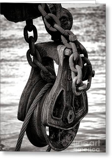 Pulley Greeting Cards - Fishing Boat Pulley Greeting Card by Olivier Le Queinec