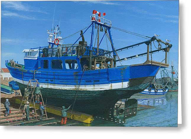 Fishing Boats Greeting Cards - Fishing Boat Repairs Essaouira Morocco Greeting Card by Richard Harpum
