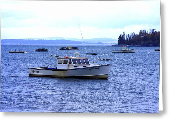 Boats In Harbor Greeting Cards - Fishing Boat Greeting Card by William Rogers