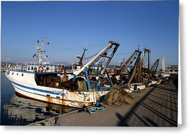 Fishing Trawler Greeting Cards - Fishing Boats Greeting Card by Andrew Fare