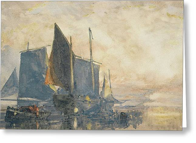 Sailing Ship Greeting Cards - Fishing Boats at Anchor   Sunset Greeting Card by William Roxby Beverly