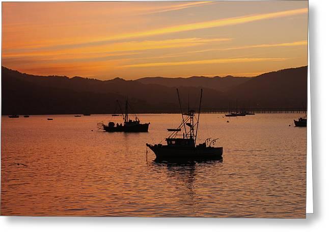 California Beach Art Greeting Cards - Fishing Boats at Dawn Greeting Card by Art Block Collections