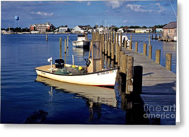 Boats At Dock Greeting Cards - Fishing boats at dock Ocracoke Village Greeting Card by Thomas R Fletcher