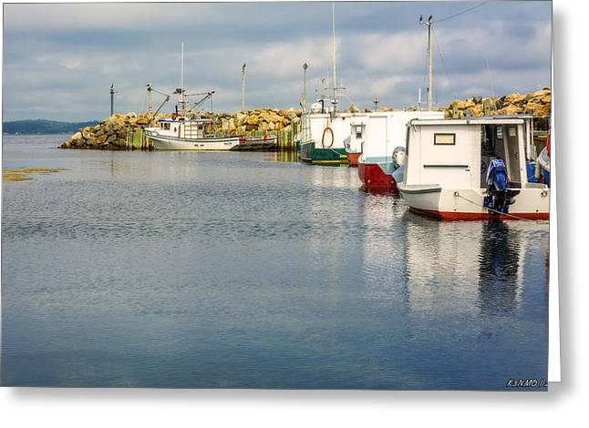 Fishing Boats Greeting Cards - Fishing Boats at Feltzen South Greeting Card by Ken Morris