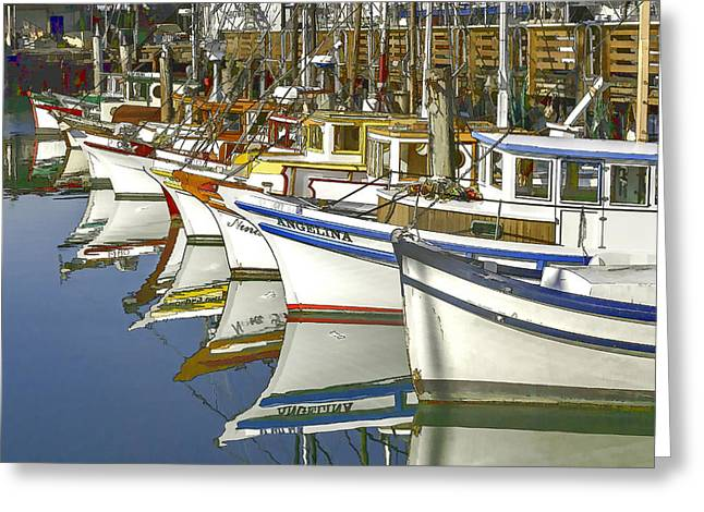Fishing Boats At Fisherman's Wharf Greeting Card by Bill Gallagher