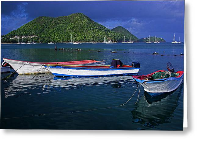 St Lucia Greeting Cards - Fishing Boats at sunrise- St Lucia Greeting Card by Chester Williams
