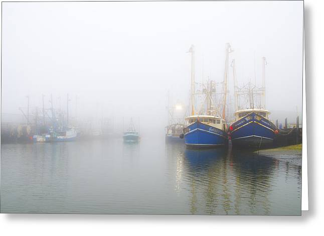 Bill Cannon Photography Greeting Cards - Fishing Boats in a Foggy Harbor Greeting Card by Bill Cannon