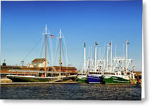 Boats In Harbor Greeting Cards - Fishing Boats in Cape May Harbor Greeting Card by Carolyn Derstine