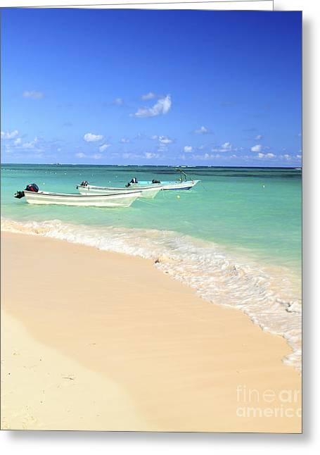 Fishing Boats In Caribbean Sea Greeting Card by Elena Elisseeva