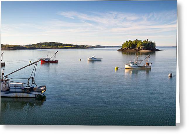 Maine Landscape Greeting Cards - Fishing Boats in Lubec Harbor Greeting Card by Benjamin Williamson