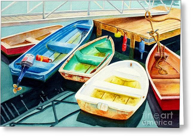 Fishing Boat Greeting Cards - Fishing Boats Greeting Card by Karen Fleschler