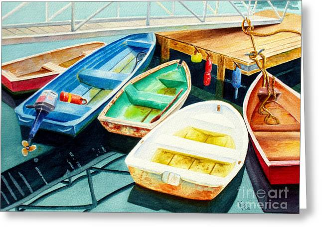 Fishing Boats Greeting Card by Karen Fleschler