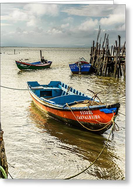 Vintage Greeting Cards - Fishing Boats Greeting Card by Marco Oliveira