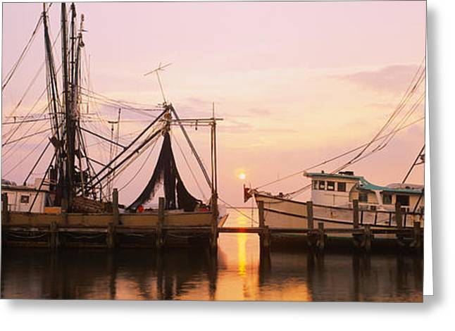 Fishing Boats Moored At A Dock, Amelia Greeting Card by Panoramic Images