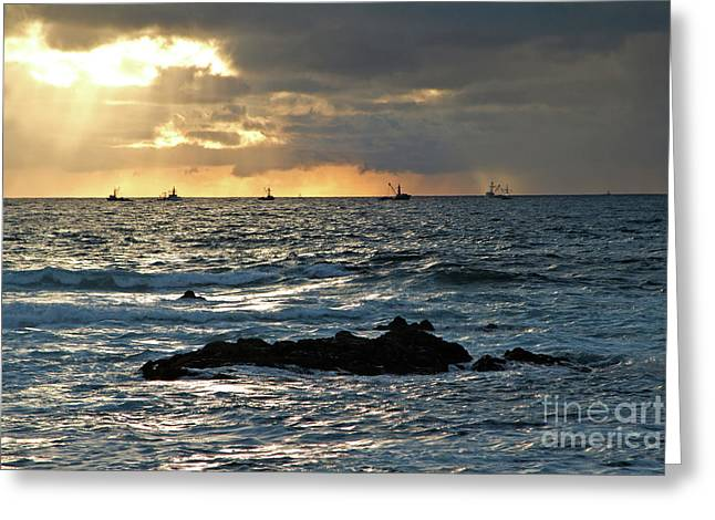 Fishing Boats Off Point Lobos Greeting Card by Charlene Mitchell