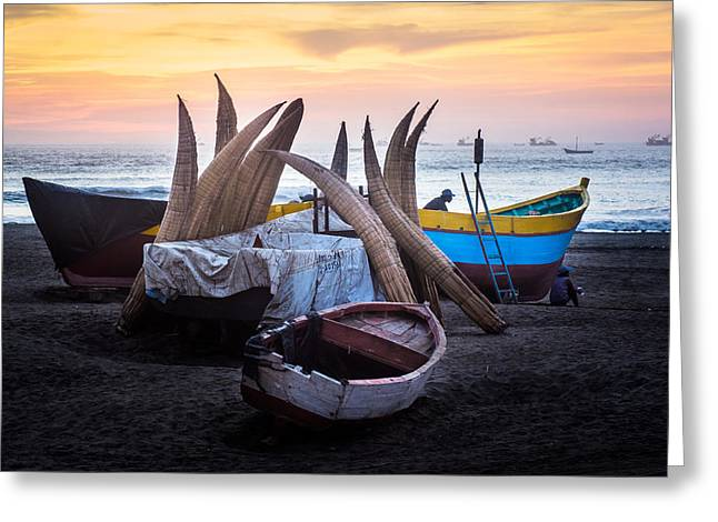 Chiclayo Greeting Cards - Fishing Boats on Beach of Northern Peru at Nightfall Greeting Card by Bob Golden