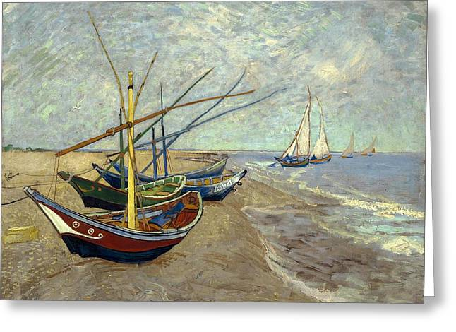 Fishing Boats On The Beach Greeting Card by Van Gogh