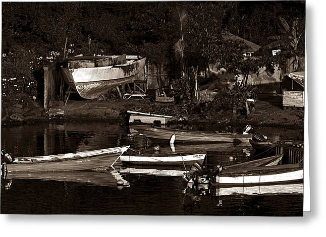 Old Framed Prints Greeting Cards - Fishing Boats- St Lucia Greeting Card by Chester Williams