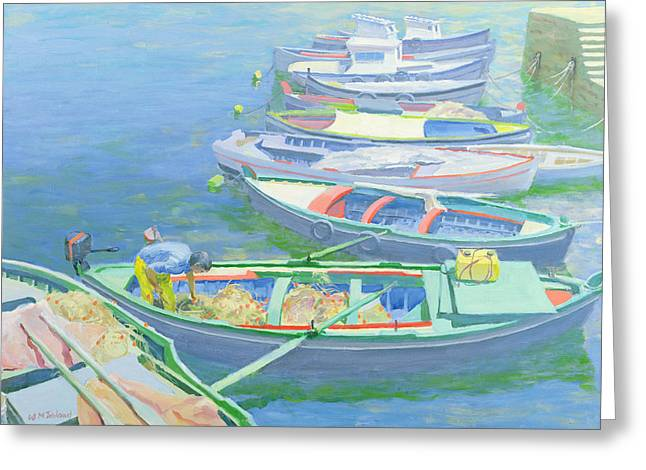 Reflecting Water Greeting Cards - Fishing Boats Greeting Card by William Ireland