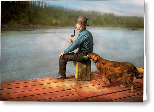 Fishing - Booze Hound 1922 Greeting Card by Mike Savad