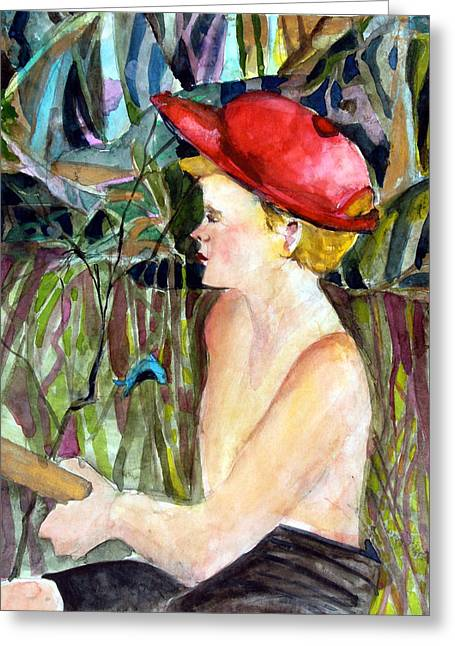 Brook Mixed Media Greeting Cards - Fishing Boy Greeting Card by Mindy Newman
