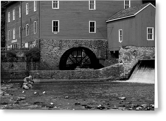 Raritan Greeting Cards - Fishing by the Mill Greeting Card by Val Arie