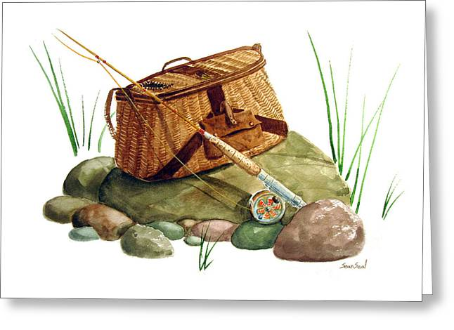 Sean Seal Greeting Cards - Fishing Creel Bamboo Fly Rod Greeting Card by Sean Seal