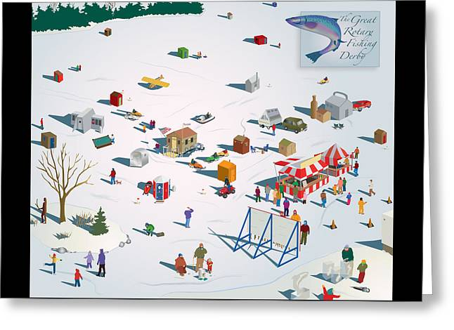 Ice-skating Greeting Cards - Fishing Derby Greeting Card by Marian Federspiel