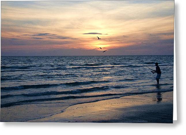 St Petersburg Florida Greeting Cards - Fishing During Sunset Greeting Card by Nancy Wilt