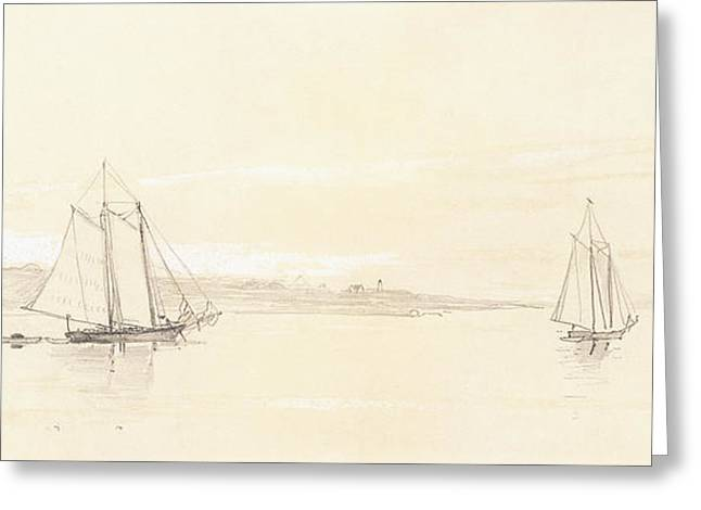 Ocean Shore Drawings Greeting Cards - Fishing Fleet at Gloucester Greeting Card by Winslow Homer
