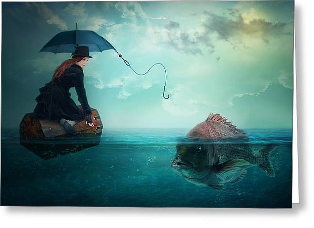 """""""photo Manipulation"""" Photographs Greeting Cards - Fishing-for A Woman ..! Greeting Card by Nataliorion"""