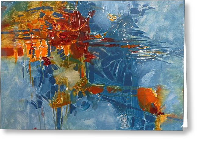 Recently Sold -  - Donna Shortt Greeting Cards - Fishing For Gold Abstract Greeting Card by Donna Shortt