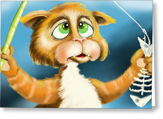 Cat Prints Greeting Cards - Fishing For Nothing Greeting Card by Hank Nunes