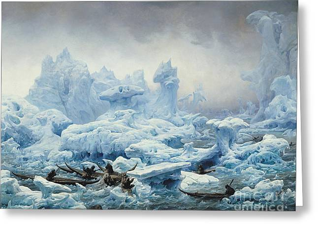 Iceberg Greeting Cards - Fishing for Walrus in the Arctic Ocean Greeting Card by Francois Auguste Biard