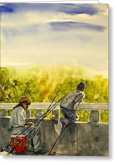 Fishing Creek Greeting Cards - Fishing from the Bridge Greeting Card by Shirley Sykes Bracken
