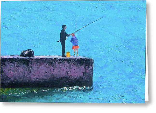 Daughter Gift Paintings Greeting Cards - Fishing from the Pier Greeting Card by Jan Matson