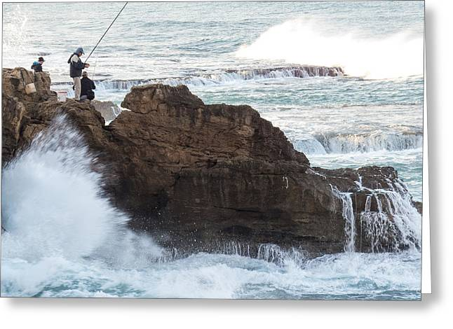 Fishing Rods Pyrography Greeting Cards - Fishing from the rocks Greeting Card by Benny Blitzblau