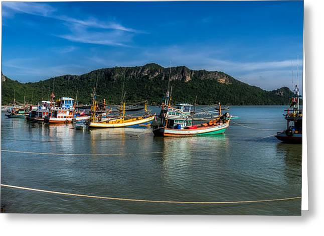 Fishing Boats Greeting Cards - Fishing Harbour Greeting Card by Adrian Evans