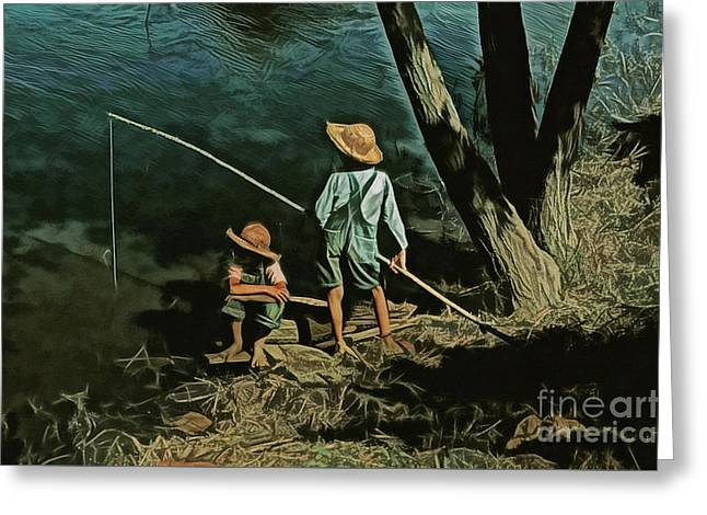 Fishing Hole Greeting Card by JS Stewart